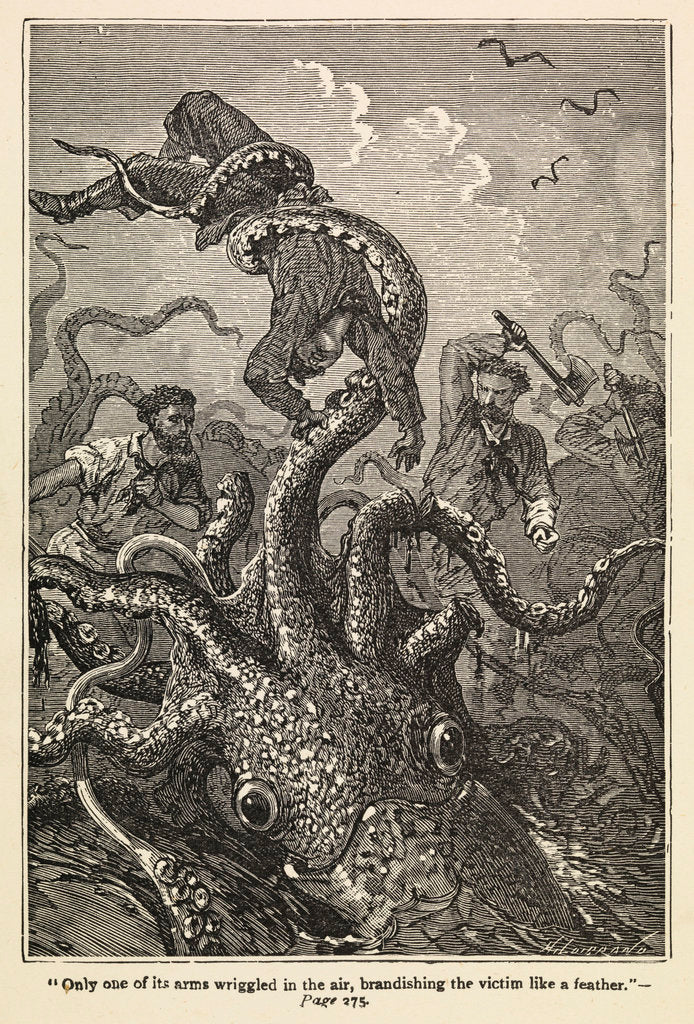 Detail of Illustration of giant squid attack from 'Twenty Thousand Leagues Under The Sea' by Alphonse-Marie-Adolphe de Neuville