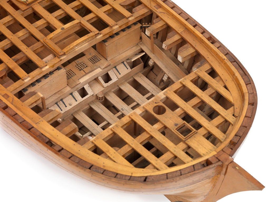 Detail of A contemporary dividing full hull model of the 'Washington' (1797), a Dutch 74-gun, two-decker ship of the line by unknown