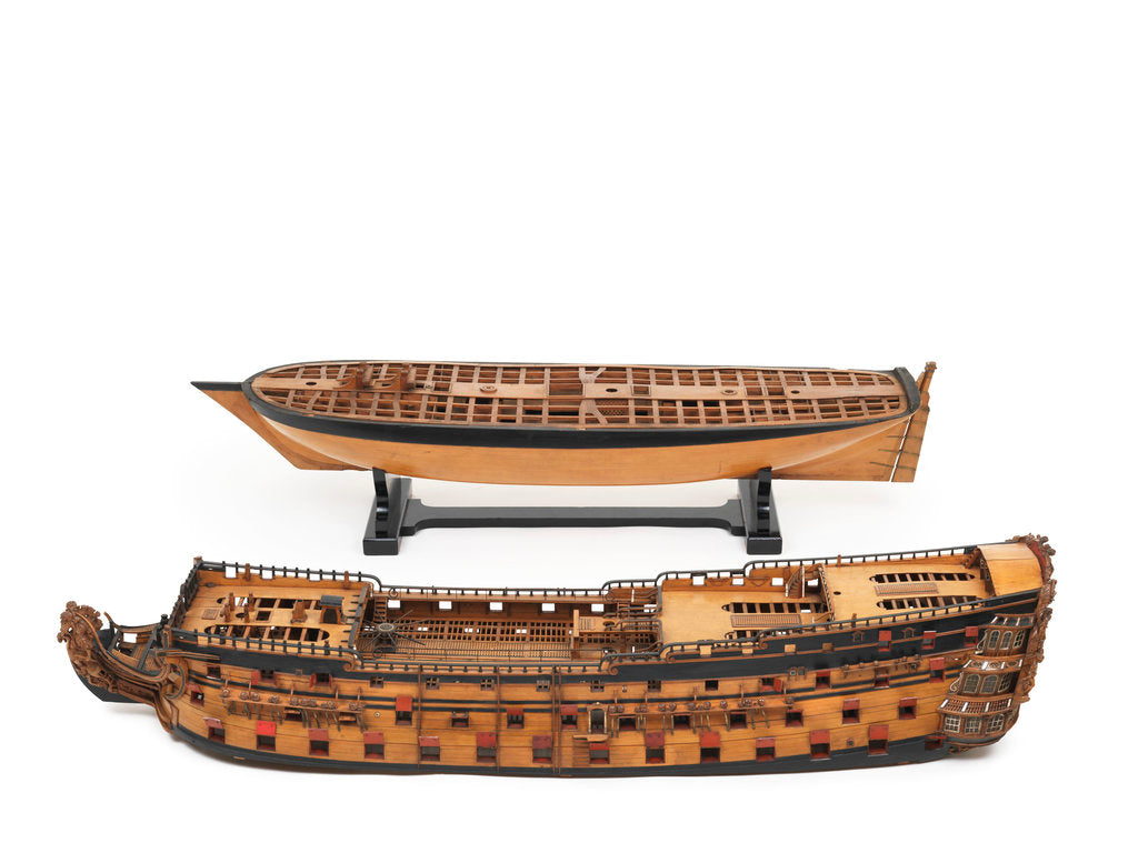 Detail of 'Royal William', model split to show upper and lower decks by unknown