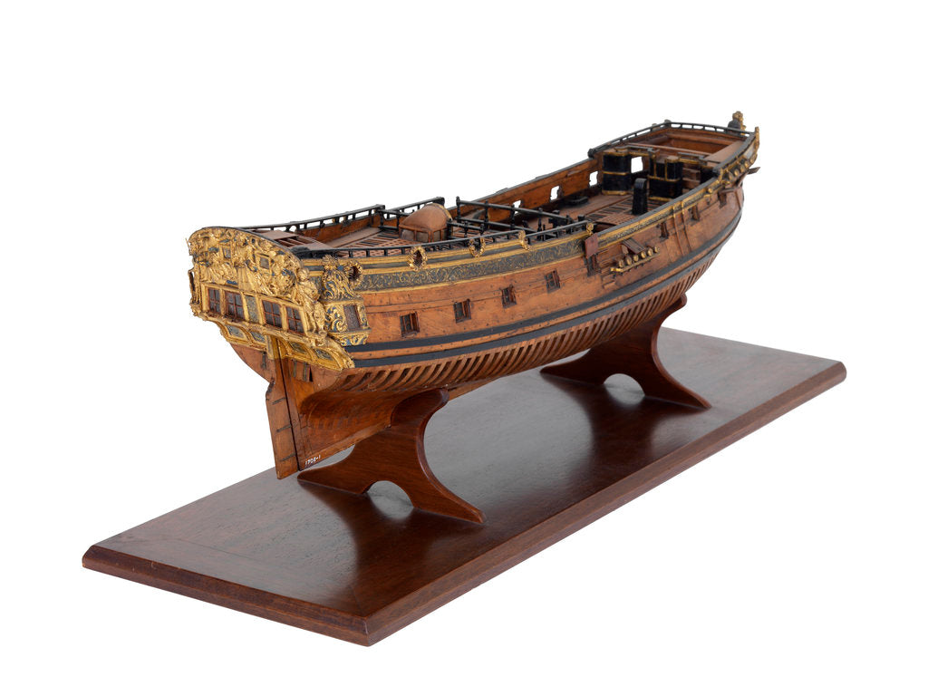 Detail of Model of a warship, sixth rate; 20-24 guns; royal/ceremonial vessel by unknown