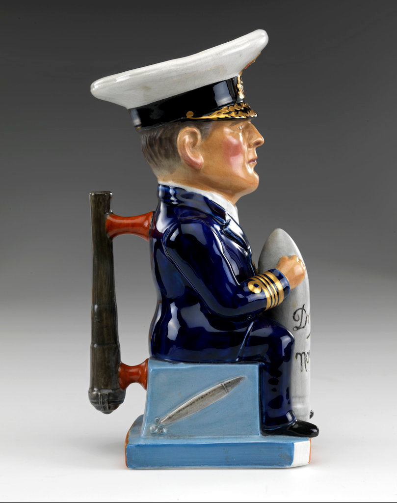Detail of Toby jug modelled as a seated figure of Admiral David, Earl Beatty (1871-1936) by Francis Carruthers Gould
