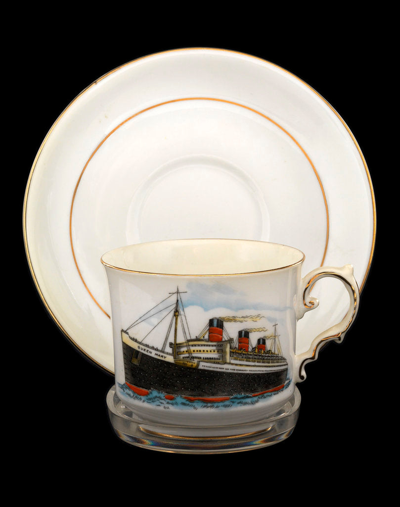 Detail of Cup and saucer commemorating the maiden voyage of  RMS 'Queen Mary' by John Aynsley & Sons Ltd.