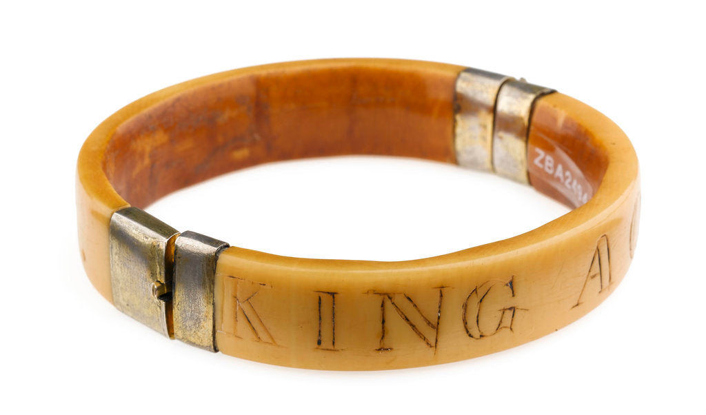 Detail of King Aqua Bracelet - View Showing Engraving 'King' by unknown