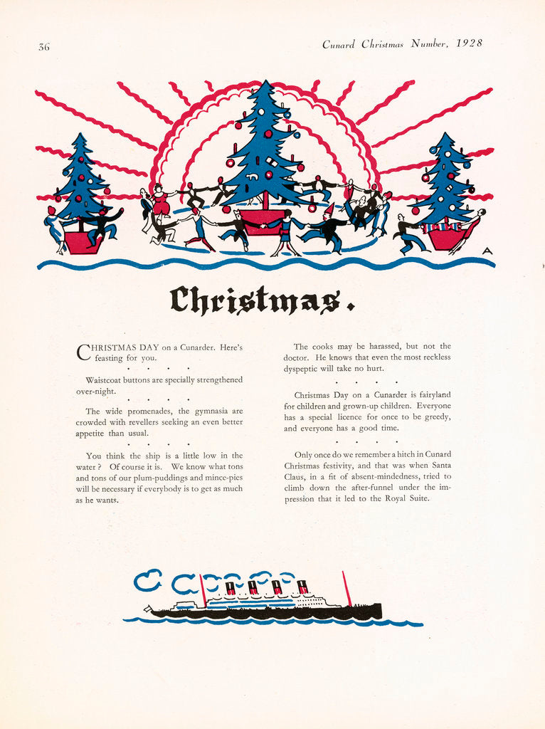 Detail of Cunard Christmas Annual 1928, page 36 by unknown