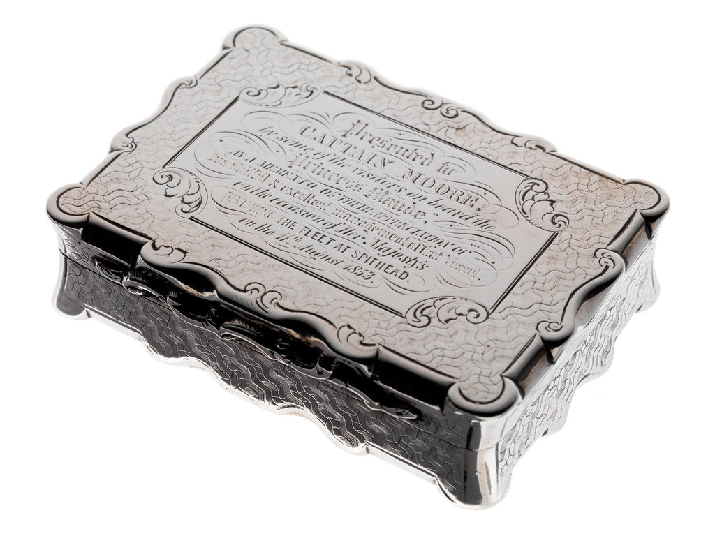 Detail of Silver box presented to Captain Moore of the 'Princess Maude' by David Pettifer