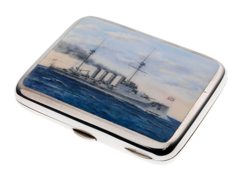 Detail of Cigarette case commemorating HMS 'Warrior' (launched 1905) by George Unite & Sons