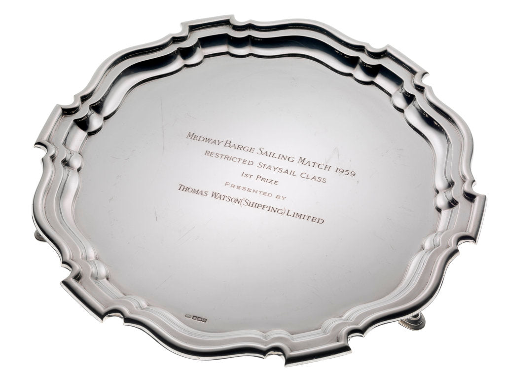 Detail of Medway Sailing Barge Match trophy salver, 1959 by Mappin & Webb