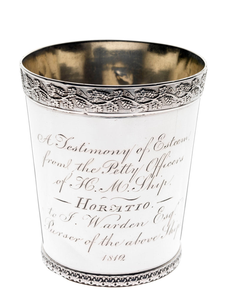 Detail of Silver beaker to the Purser of HMS 'Horatio', 1812 by A. B.