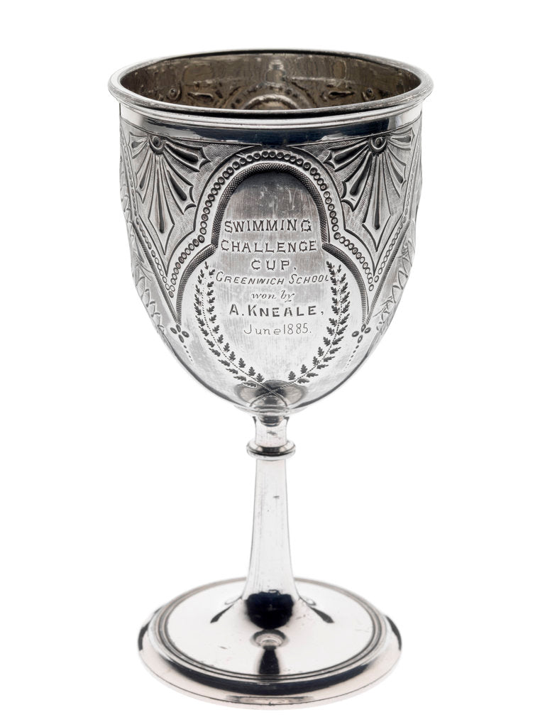 Detail of Silver-plated goblet won as a swimming prize at Greenwich School by unknown