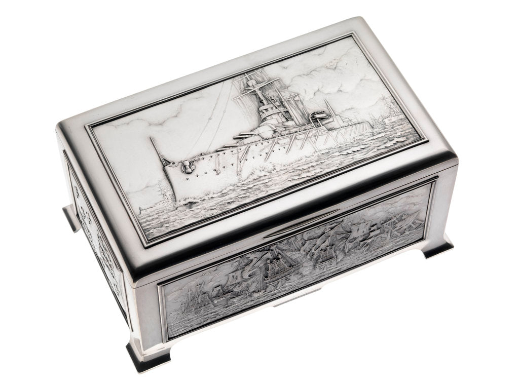 Detail of Silver cigarette box, commemorating the Battleship HMS 'King George V' (1911), given to King George V (1865-1936) by his mother Queen Alexandra (1844-1925) by Peter Carl Faberge