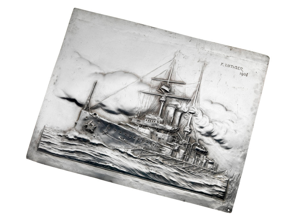 Detail of Silver electrotype plaque of battleship HMS 'Glory', dated 1908 by Frank Lutiger
