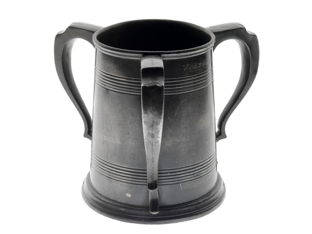 Detail of Pewter tankard won at the RNAV cutter race, 1890 by James Dixon & Sons