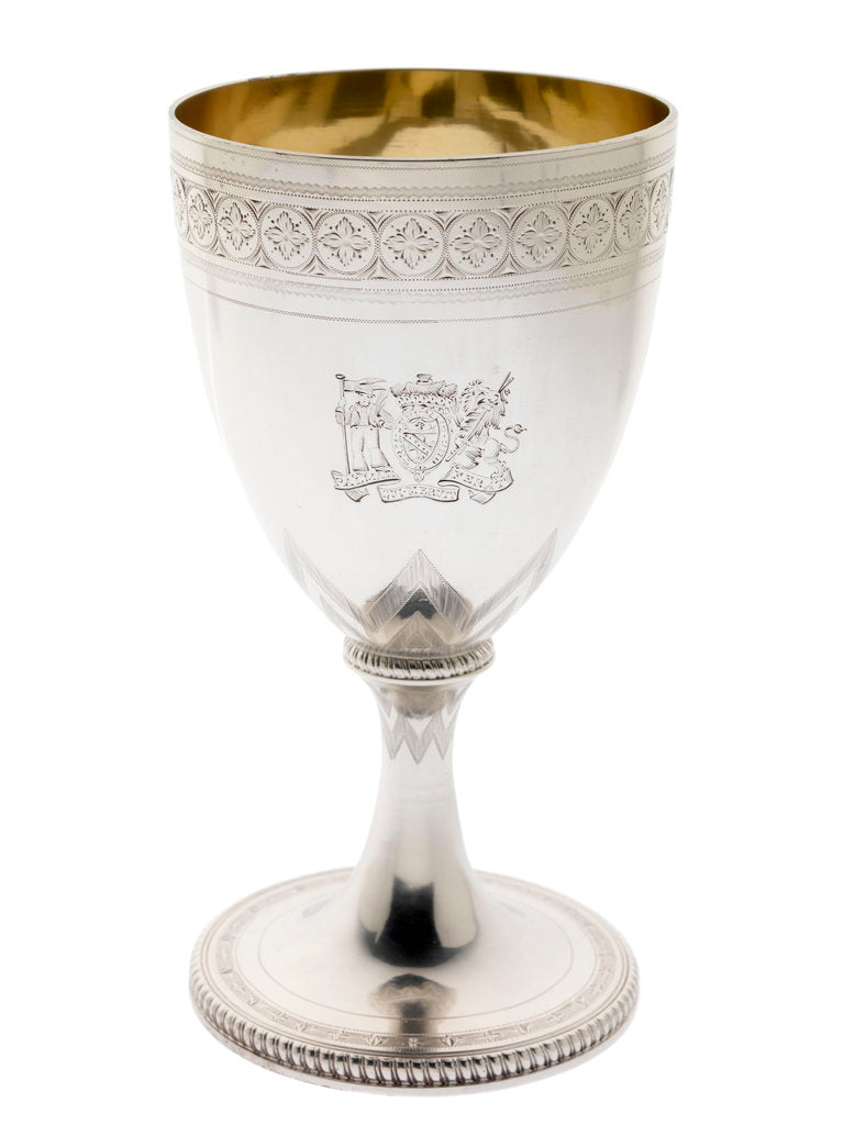 Detail of Silver goblet engraved with the arms of Vice-Admiral Lord Nelson (1758-1805) by Abraham Barrier