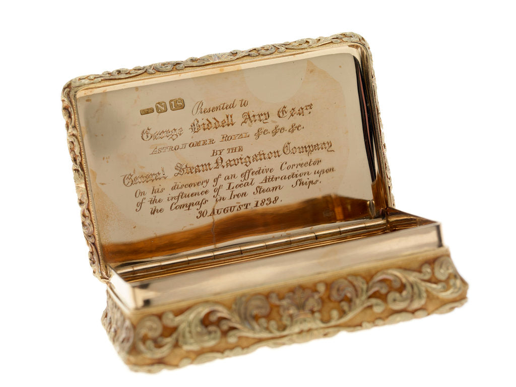 Detail of Gold snuff box presented to Sir George Biddell Airy (1801-1892) by the General Steam Navigation Company in 1838 by Alexander James Strachan