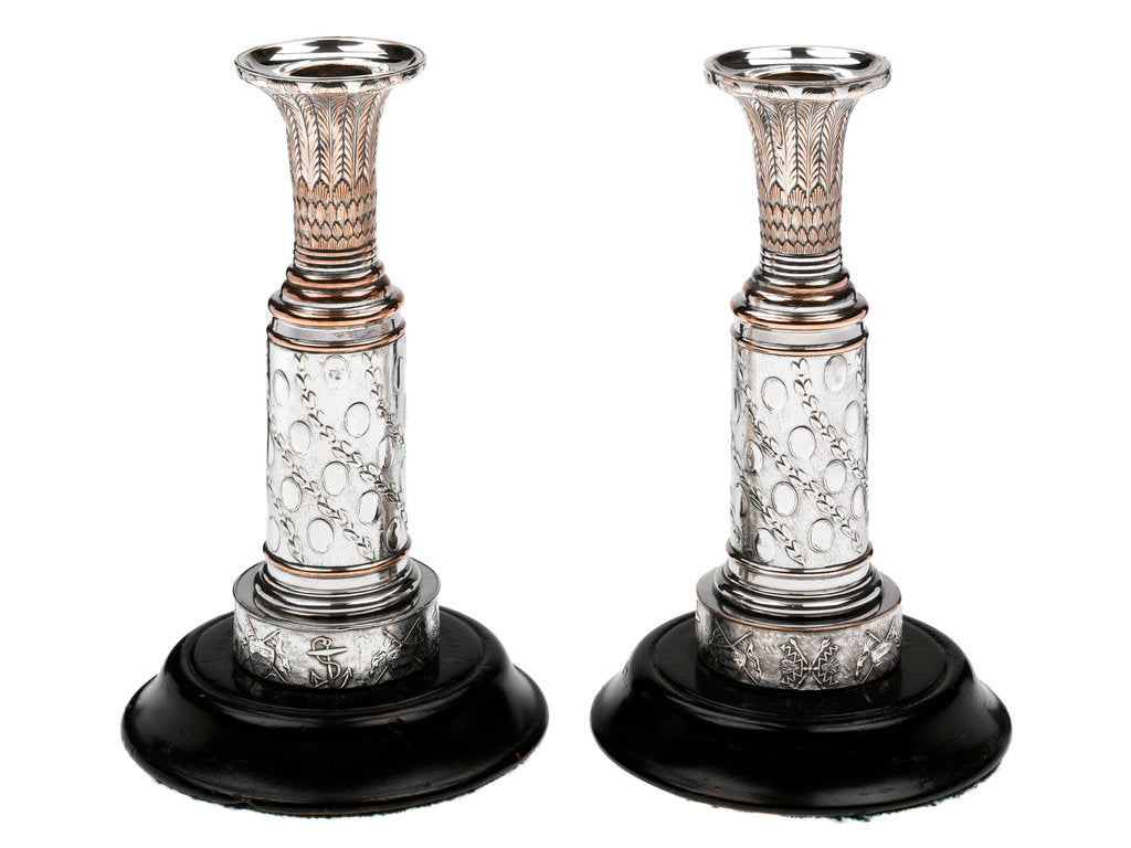 Detail of One of a pair of matching Sheffield plate candlesticks commemorating the victories of Admirals Richard Howe, John Jervis, Adam Duncan and Horatio Nelson by unknown