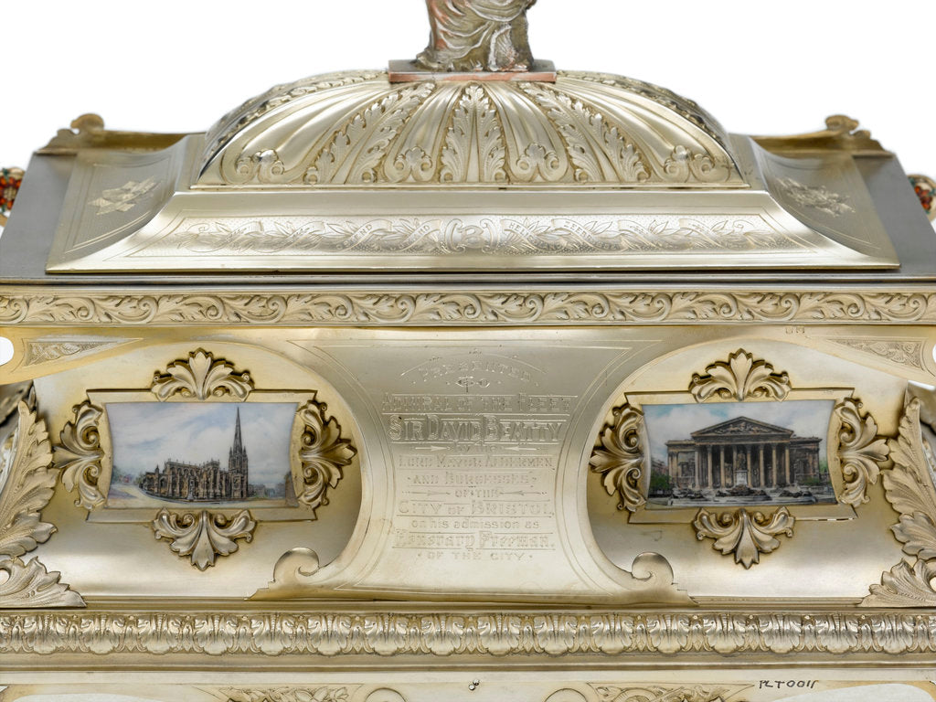 Detail of Freedom casket presented to Admiral of the Fleet Sir David Beatty, 1st Earl Beatty (1871-1936) by the City of Bristol, 23 October 1919 by T. & J. Bragg Ltd.