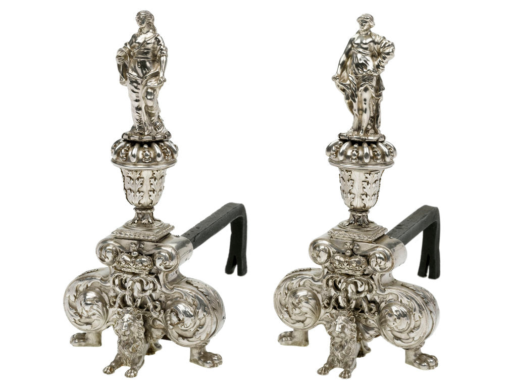 Detail of Pair of silver firedogs from the collection of King Charles II by unknown