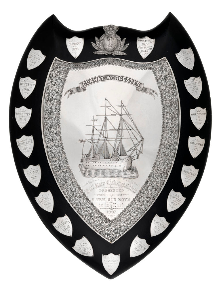 Detail of Worcester' v 'Conway' boat race shield by unknown