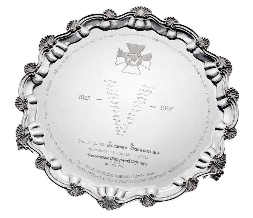 Silver salver presented to Vice-Admiral Jerzy Swirski by unknown