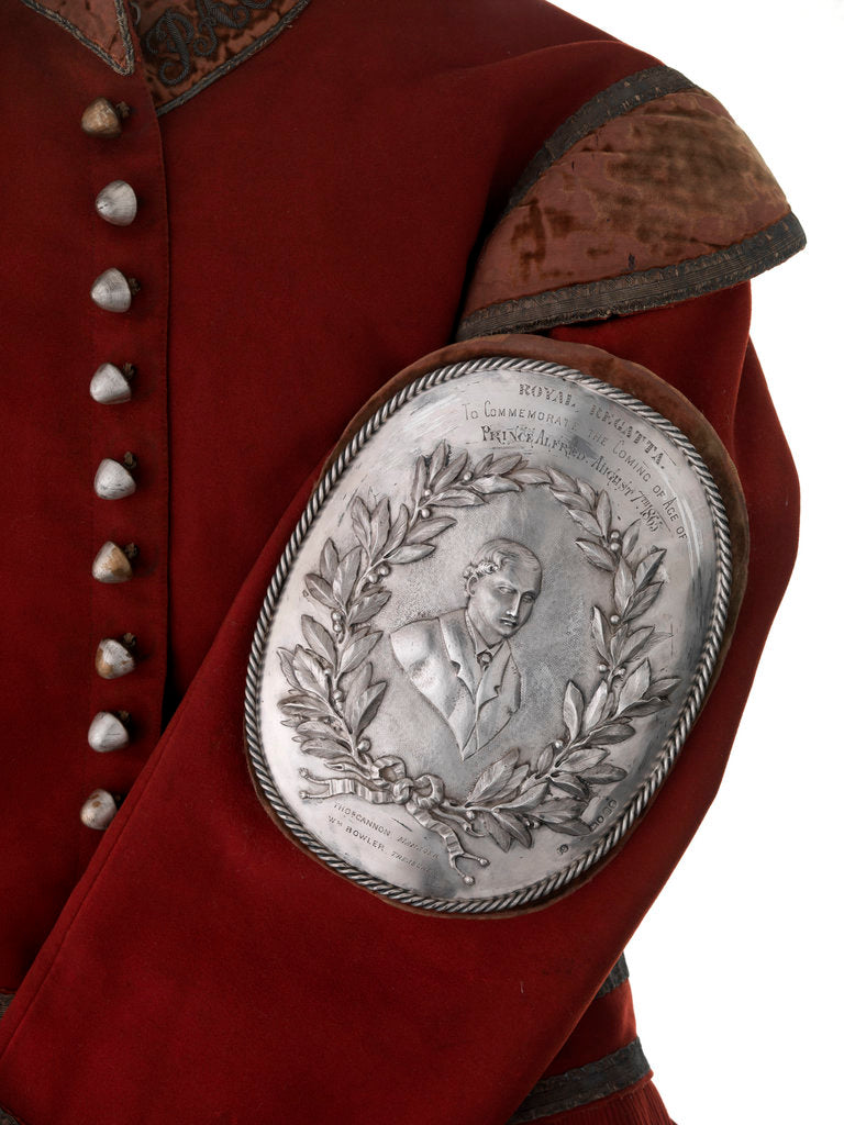 Detail of Arm badge (brassard) awarded as a prize in the Royal Regatta, 1865, and attached to the sleeve of prize coat by I.S.