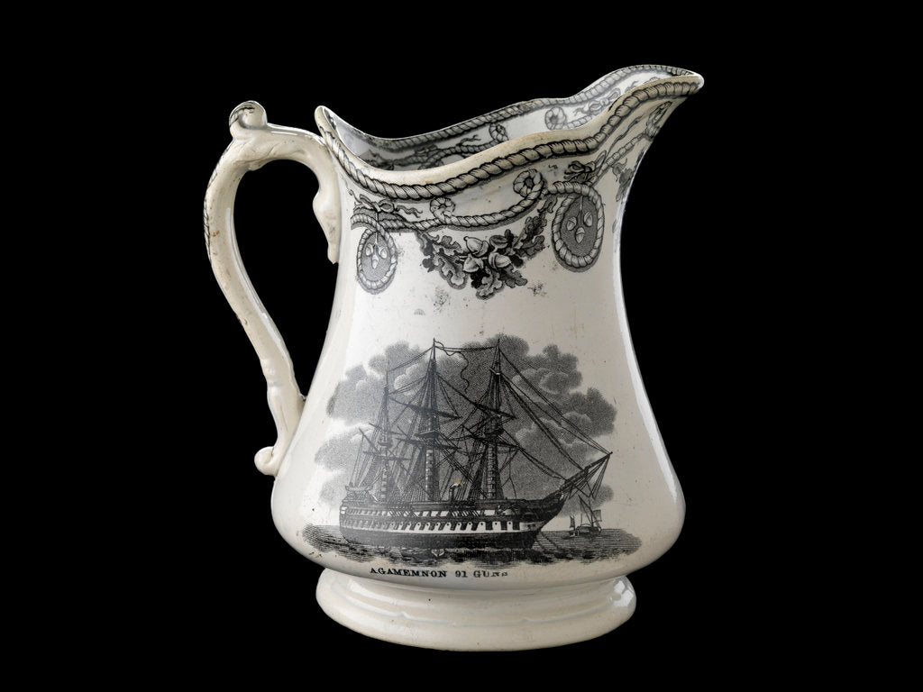 Detail of Jug transfer-printed in black on one side with a view of HMS 'Agamemnon' at anchor and the other with the 'Great Eastern' under sail and steam by unknown
