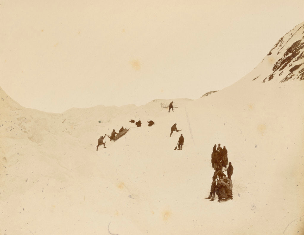 Detail of Sledging party rounding Cape Rawson by George White