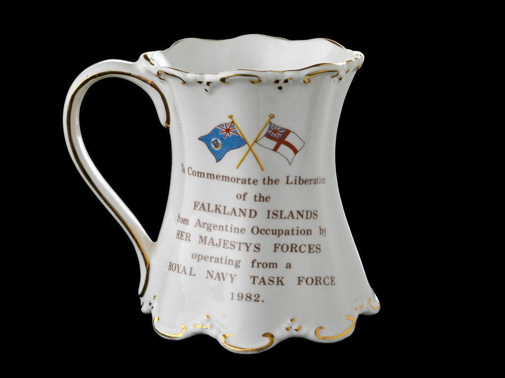 Detail of Shaped mug with gilt scrolling rims commemorating the Falklands War, 1982 by St George Fine Bone China