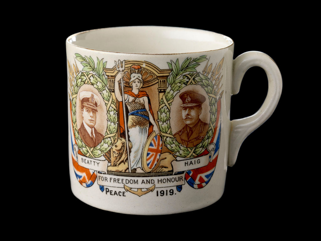 Detail of White mug printed in colour in commemoration of the Peace ending World War I by unknown