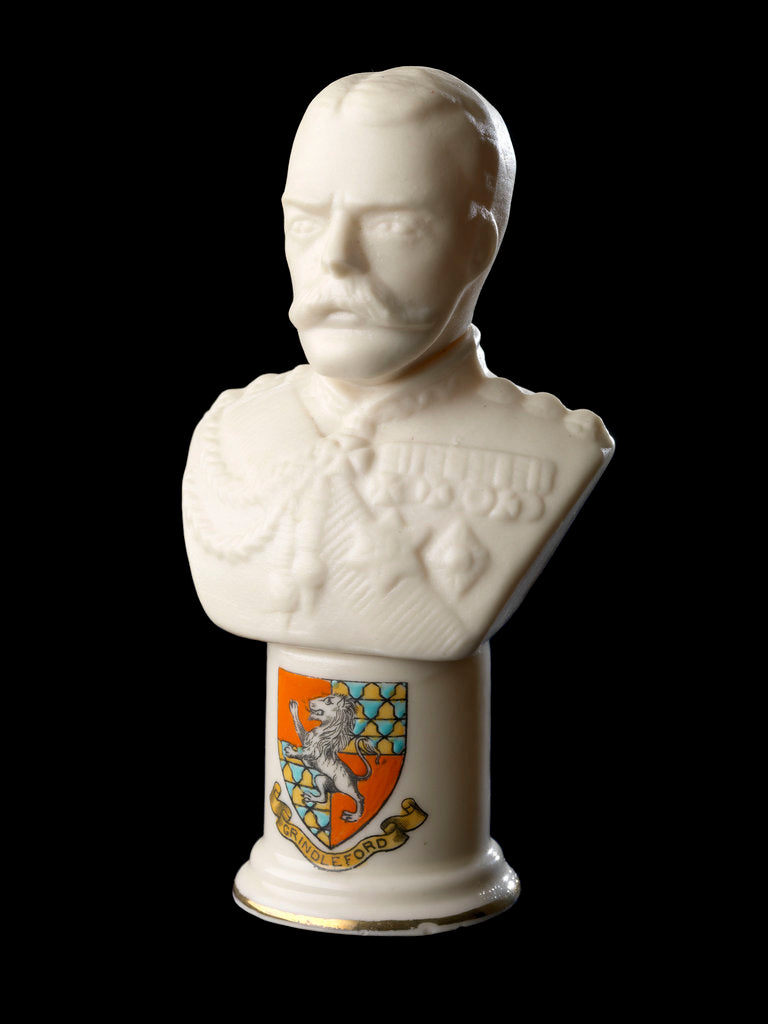 Detail of White Goss-type bust figure of Lord Kitchener in uniform by Carlton China 'W & A'