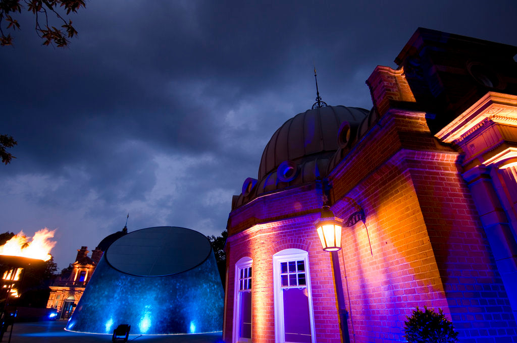 Detail of Night-time view of illuminated Royal Observatory, Greenwich, including the Peter Harrison Planetarium, Astronomy Centre (South Building) and Altazimuth Building by National Maritime Museum Photo Studio
