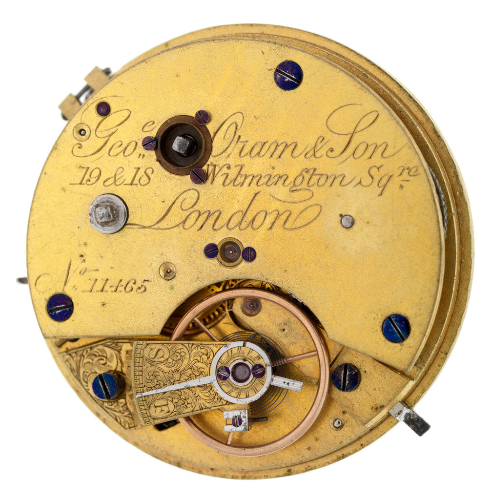 Detail of Pocket watch '11465' movement by George Oram & Son
