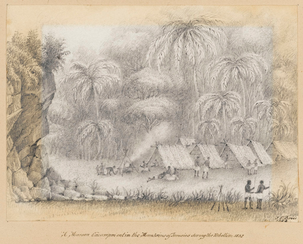 Detail of A Maroon Encampment in the Mountains of Jamaica during the Rebellion, 1832, Jamaica by James Fuller Boxer