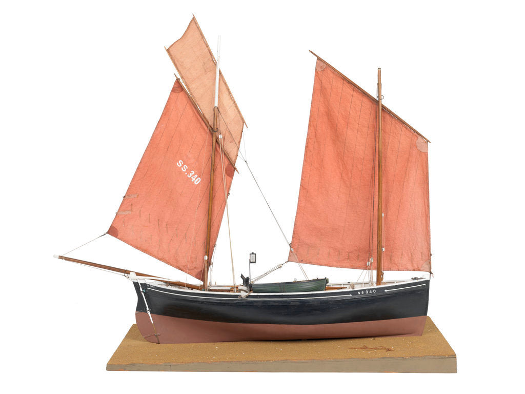 Detail of A full hull model of the mackerel driver 'Ebenezer' (1867) by Max T. Davey