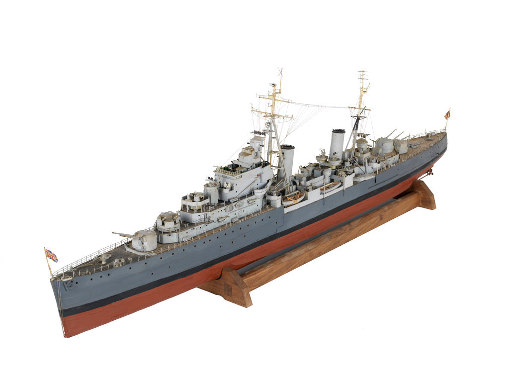 Detail of Full hull exhibition model of  cruiser HMS 'Argonaut' (1941) by M.A. Batchelor