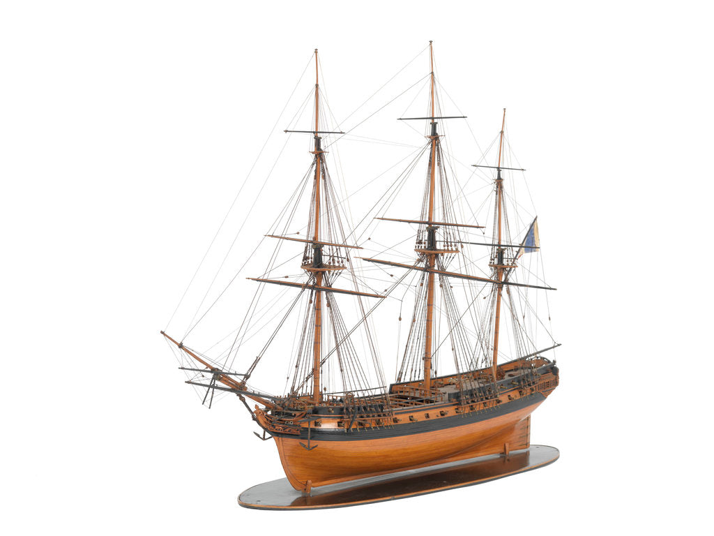 Detail of Model of a warship (1800); French; Frigate; 44-46 guns by unknown