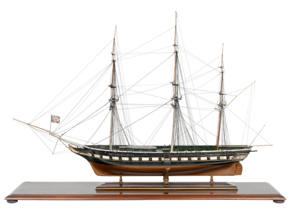 Detail of Miniature frigate 'Royal Adelaide' (1834) by unknown