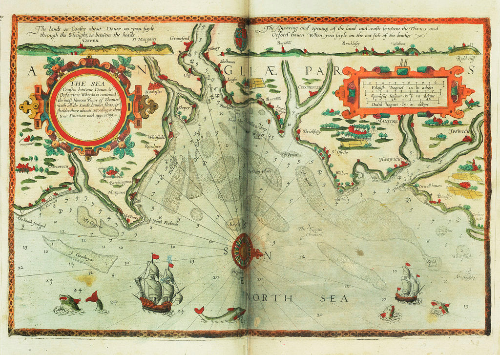 Detail of Chart of Prusya with all the havens and rivers from Memel to Heel by Lucas Janz Waghenaer