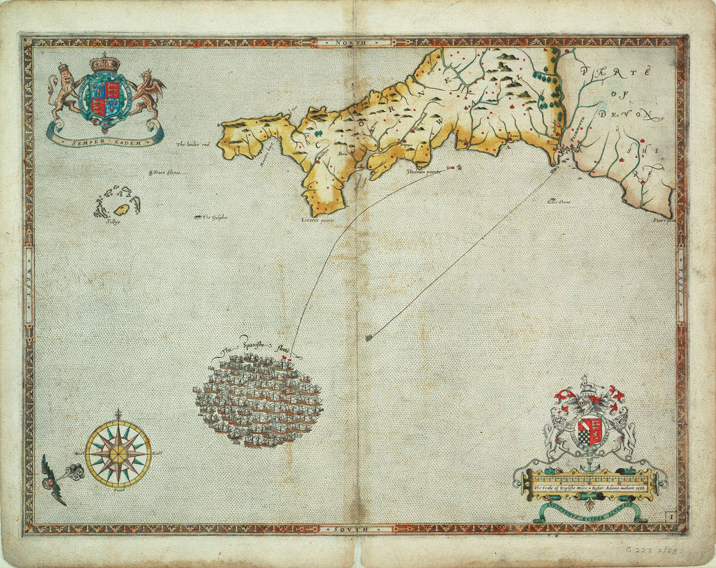 Detail of The Spanish and English fleets near Plymouth on 30 - 31 July, 1588 by Robert Adams