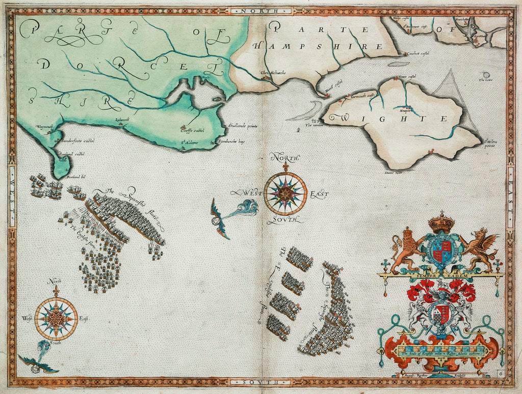 Detail of The English and Spanish fleets between Portland Bill and the Isle of Wight on 2 - 3 August 1588 by Robert Adams