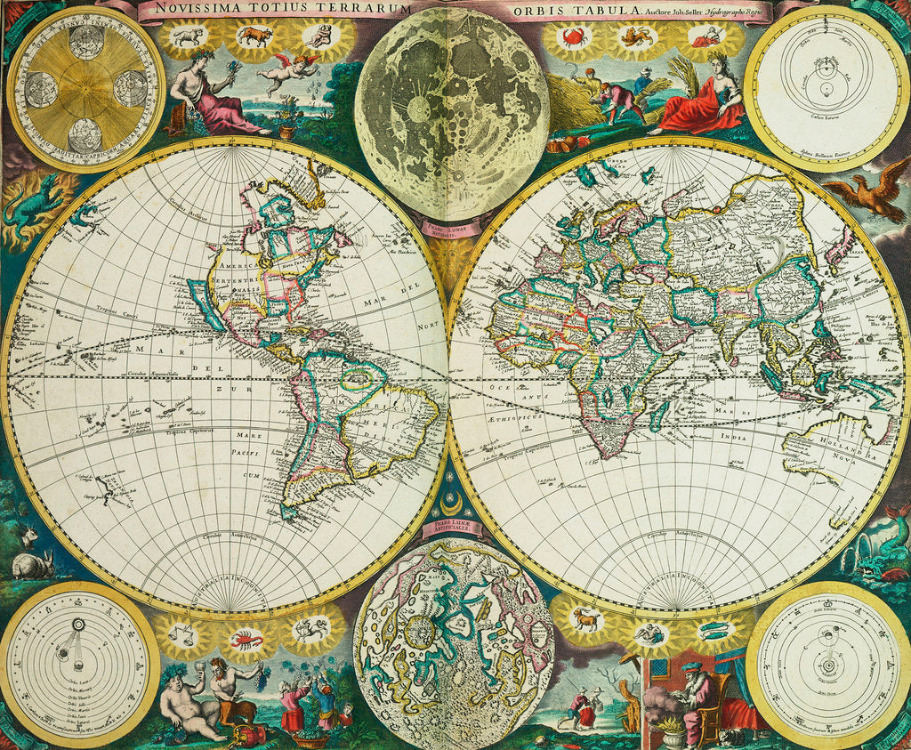 Detail of World map by John Seller, 1675 by John Seller