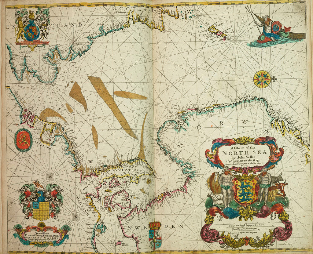 Detail of A chart of the North Sea by John Seller