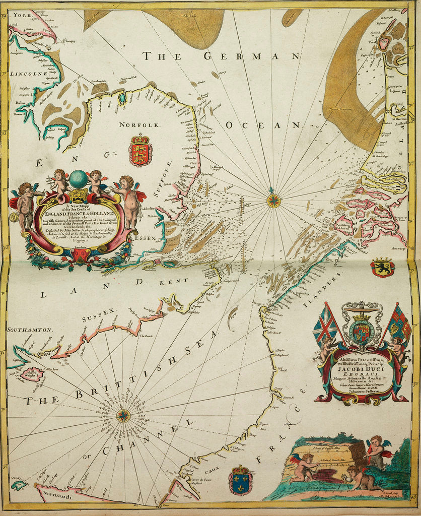 Detail of A new mappe of the sea coasts of England, France and Holland, wherein the English names, situation, point of the compass, and distance of the several ports, harbours, havens, creeks, sands. by John Seller
