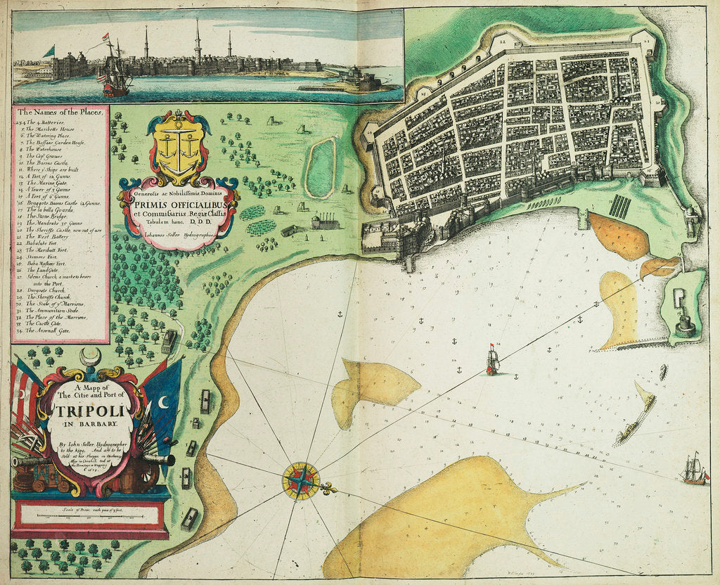Detail of A map of the city and port of Tripoli in Barbary by John Seller