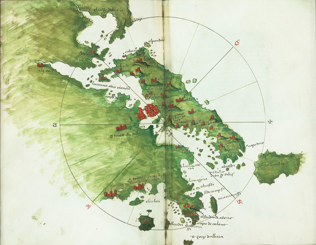 Detail of Chart of Negroponte by Bartolommeo dalli Sonetti