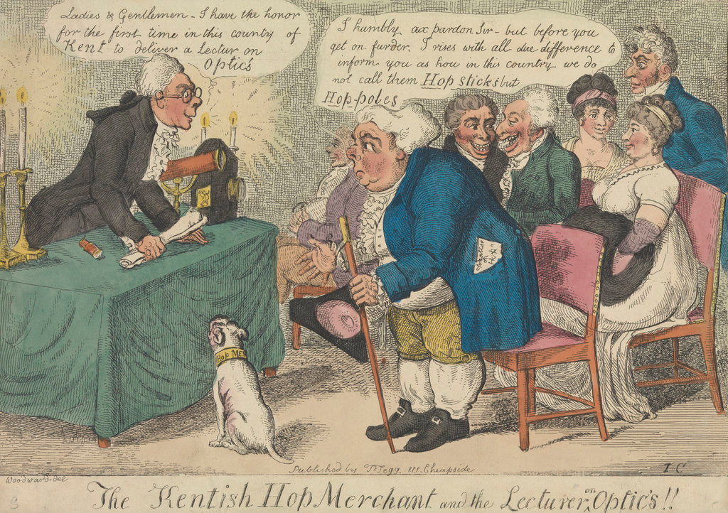 Detail of The Kentish Hop Merchant and the Lecturer on Optics!! by George Woodward