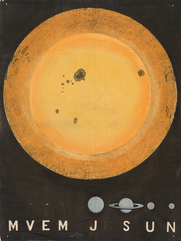 Detail of A wall hanging of the Sun, 3 feet in diameter and comparative size of planets by Working Men's Educational Union