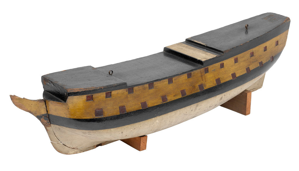 Detail of A model of 'Ludlow Castle' (1723) warship, forth rate, 40-guns by unknown