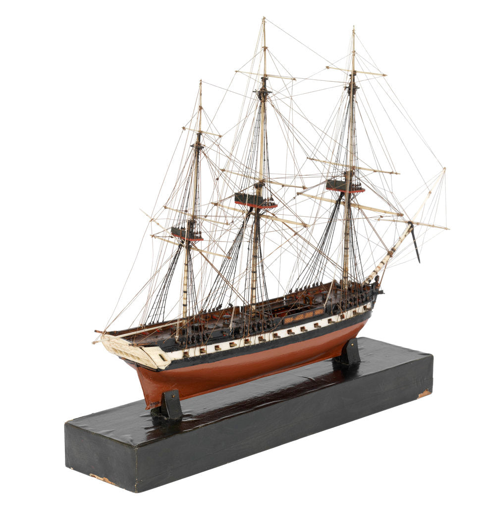 Detail of A model of a warship (1800), French, frigate, 44-48 gun by unknown