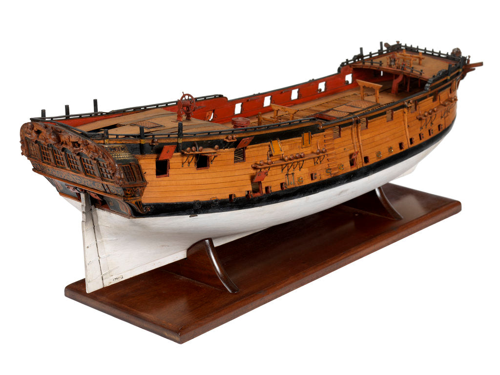 Detail of A model of a warship (1741), sixth rate, sloop, 24 guns by unknown