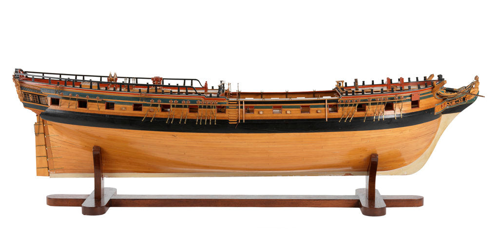 Detail of Contemporary full hull model 'Minerva' (1780), a 38-gun frigate by G.W. French